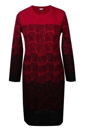 Платье вязаное 4138 К  Вишневый черный