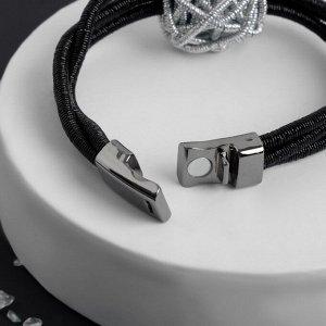 """Браслет ассорти """"На магните"""" скрученный шар, 21см, цвет серебряно-чёрный"""
