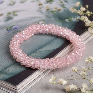 """Браслет со стразами """"Переплетение"""" гроздь, цвет розовый, 5см"""