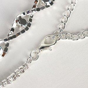 """Браслет со стразами """"Амелия"""" бусинка в эллипсе, цвет белый в серебре, 23см"""