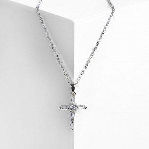 """Кулон """"Крестик"""" Рим, цвет белый в серебре, 40см"""