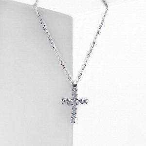 """Кулон """"Крестик"""" минимал, цвет белый в серебре, 40см"""