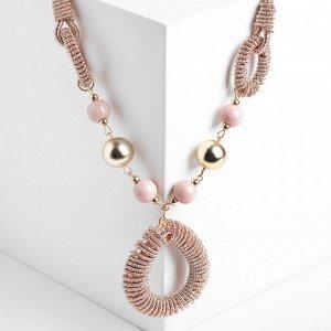 """Кулон на декоративной основе """"Осень"""" овалы, цвет розовый, 50см"""