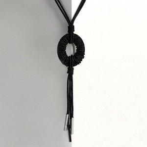 """Кулон на декоративной основе """"Август"""" круг, цвет чёрный, 60см"""