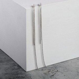 """Серьги-чокер с жемчугом """"Хит"""" стразики, 35см, цвет белый в серебре"""