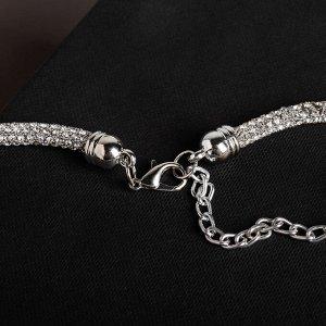 """Кулон на декоративной основе """"Сокровище"""" крупный кристалл, цвет белый в серебре, 50см"""