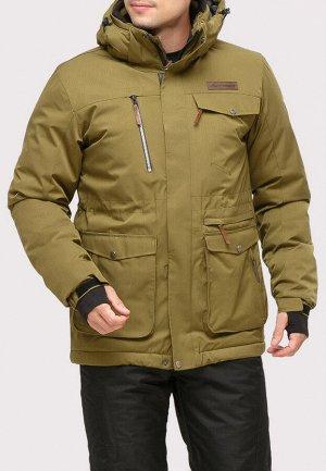 Мужская зимняя горнолыжная куртка цвета хаки 1910Kh
