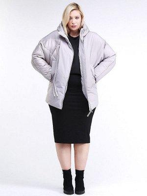 Женская зимняя классика куртка стеганная серого цвета 76-912_46Sr