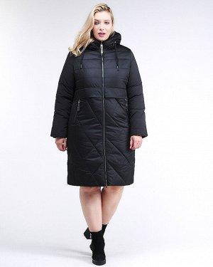 Женская зимняя классика куртка большого размера черного цвета 100-916_701Ch