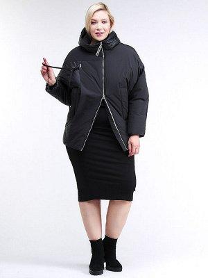 """Куртка зимняя женская """"летучая мышь"""" черного цвета 76-912_701Ch"""