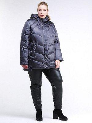 Женская зимняя классика куртка большого размера темно-фиолетового цвета 85-923_889TF