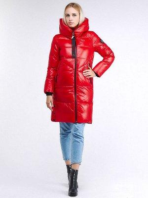 Женская зимняя молодежная куртка с капюшоном красного цвета 9179_14Kr