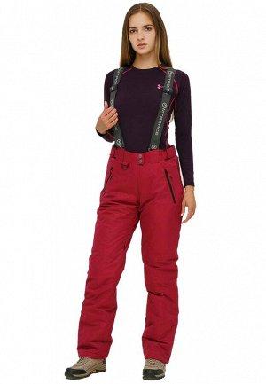 Женские зимние горнолыжные брюки бордового цвета 906Bo