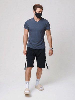 Летние шорты трикотажные мужские черного цвета 21005Ch