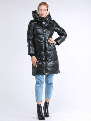Женская зимняя молодежная куртка с капюшоном темно-серого цвета 9179_03TC