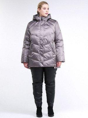 Женская зимняя классика куртка большого размера коричневого цвета 85-923_48K