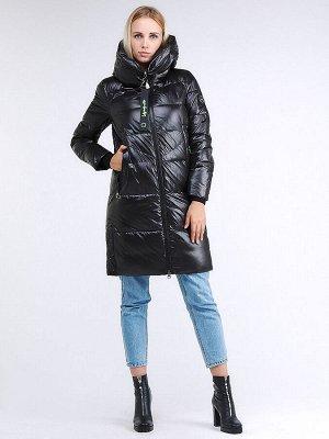 Женская зимняя молодежная куртка с капюшоном черного цвета 9179_01Ch