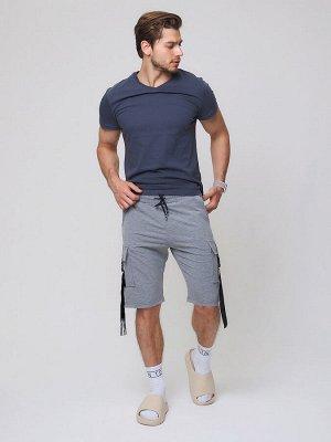 Летние шорты трикотажные мужские серого цвета 21005Sr