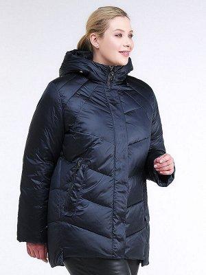 Женская зимняя классика куртка большого размера темно-синего цвета 85-923_5TS