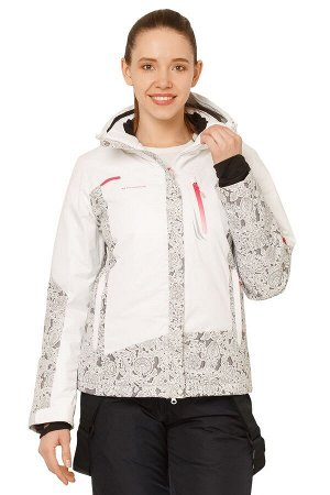 Женская зимняя горнолыжная куртка белого цвета 17122Bl