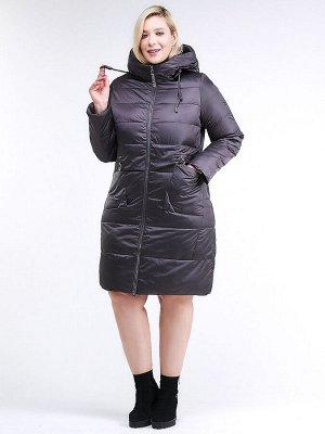 Женская зимняя классика куртка большого размера темно-серого цвета 98-920_58TC
