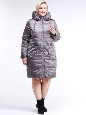 Женская зимняя классика куртка большого размера коричневого цвета 98-920_48K