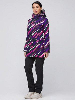 Женский осенний весенний костюм спортивный softshell фиолетового цвета 019221F