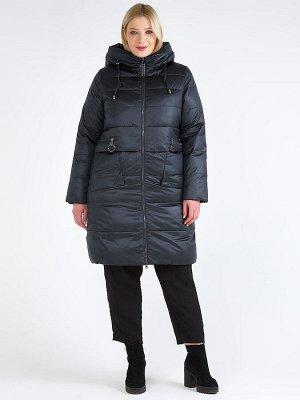 Женская зимняя классика куртка большого размера болотного цвета 98-920_122Bt