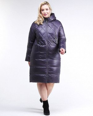 Женская зимняя классика куртка стеганная темно-фиолетового цвета 105-918_24TF