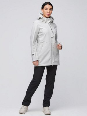 Женский осенний весенний костюм спортивный softshell светло-серого цвета 02021SS