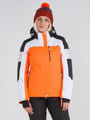 Женская зимняя горнолыжная куртка оранжевого цвета 19601O