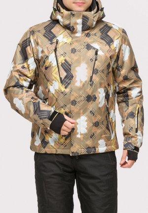 Мужская зимняя горнолыжная куртка коричневого цвета 18108K