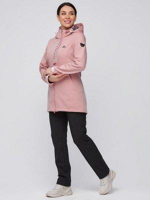 Женский осенний весенний костюм спортивный softshell персикового цвета 02021P