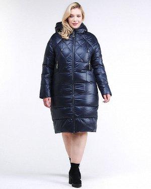 Женская зимняя классика куртка стеганная темно-синего цвета 105-918_23TS
