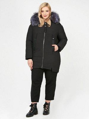 Женская зимняя молодежная куртка большого размера черного цвета 88-953_701Ch
