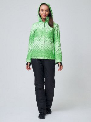 Женский зимний костюм горнолыжный зеленого цвета 01786Z