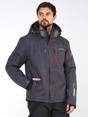 Мужская зимняя горнолыжная куртка большого размера темно-серого цвета 19471TC