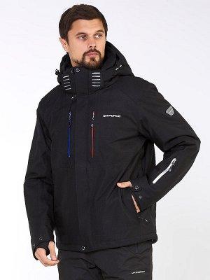 Мужская зимняя горнолыжная куртка большого размера черного цвета 19471Ch