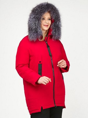 Женская зимняя молодежная куртка большого размера красного цвета 88-953_30Kr
