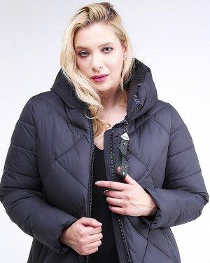 Женская зимняя молодежная куртка с капюшоном темно-синего цвета 1959_11TS