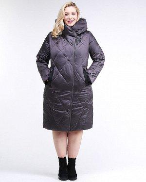 Женская зимняя классика куртка большого размера темно-серого цвета 105-917_58TC