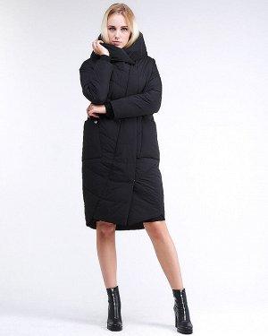 Женская зимняя молодежная куртка стеганная черного цвета 9105_01Ch