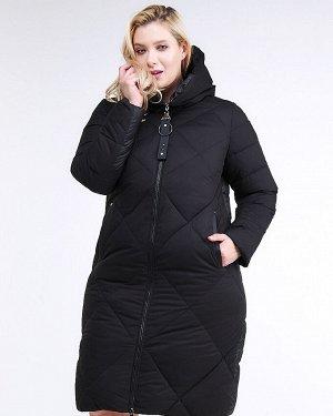 Женская зимняя молодежная куртка с капюшоном черного цвета 1959_01Ch