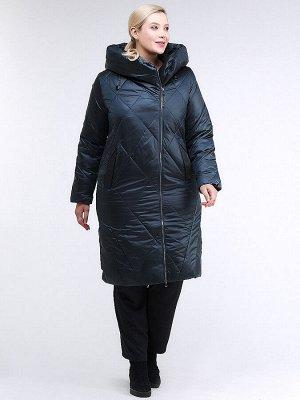 Женская зимняя классика куртка большого размера темно-зеленного цвета 105-917_123TZ