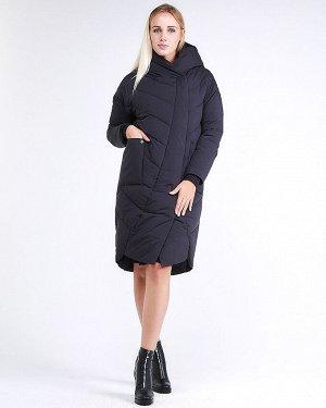 Женская зимняя молодежная куртка стеганная темно-серого цвета 9105_02TC