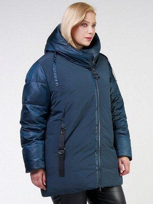 Женская зимняя классика куртка большого размера темно-зеленного цвета 85-951_079TZ