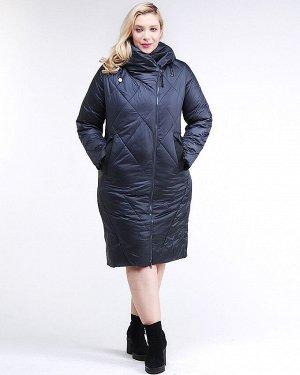 Женская зимняя классика куртка большого размера темно-синего цвета 105-917_84TS