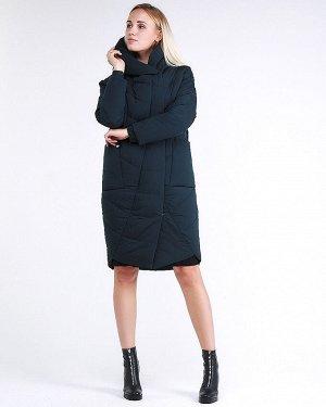 Женская зимняя молодежная куртка стеганная темно-зеленного цвета 9105_03TZ
