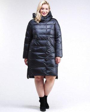 Женская зимняя молодежная куртка с капюшоном темно-синего цвета 191923_02TS