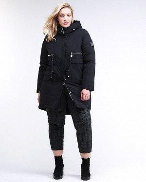 Женская зимняя молодежная куртка большого размера черного цвета 95-906_701Ch